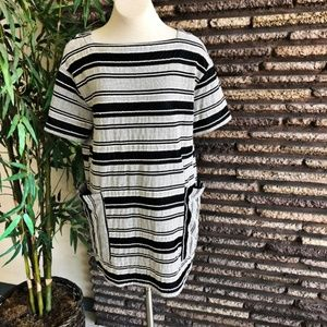 Zara Black White Striped Boxy Tunic Dress